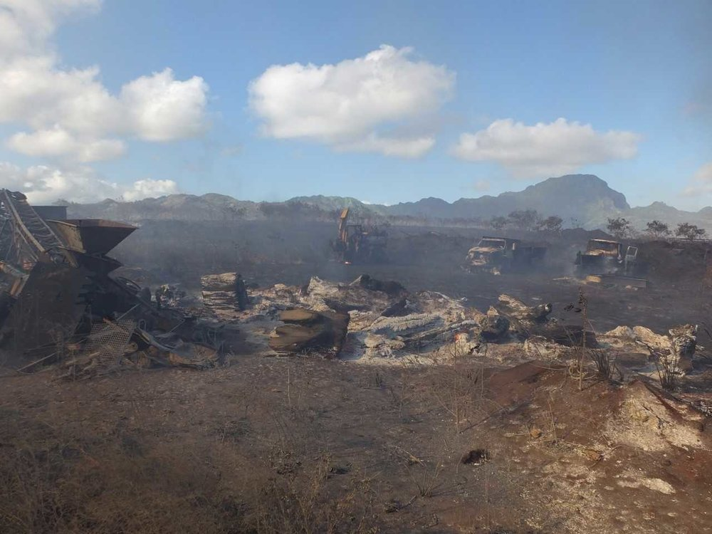 Destructive aftermath of the 215-acre Poipu fire. Credit: Kauai County