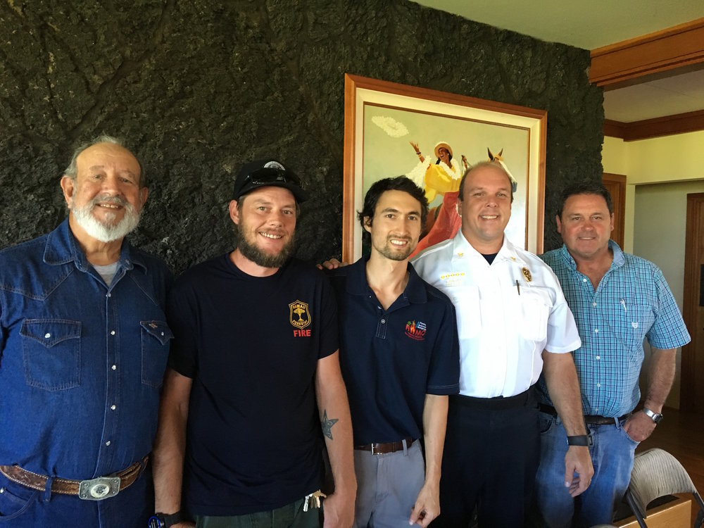 From left to right: Gary Grisham (Waikii Ranch Firewise Committee), Jacob Witcraft (DLNR DOFAW), Pablo Beimler (HWMO), Chief Eric Moller (US Army-Garrison, FES), and Captain Bill Bergin (HFD). Photo credit: Lynn Scully.