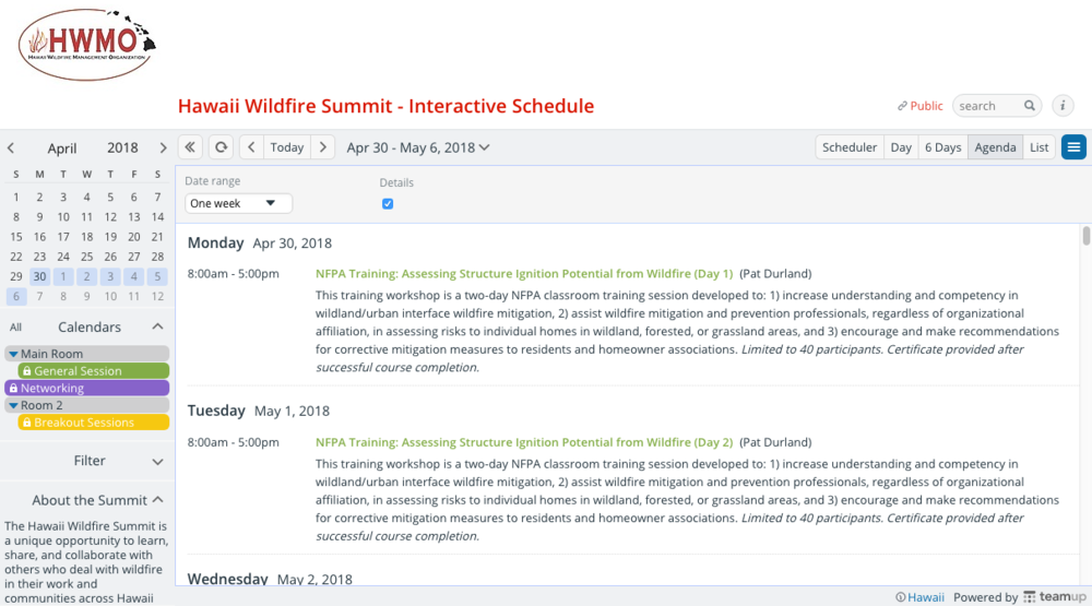Hawaii Wildfire Summit - Interactive Schedule Screenshot.png