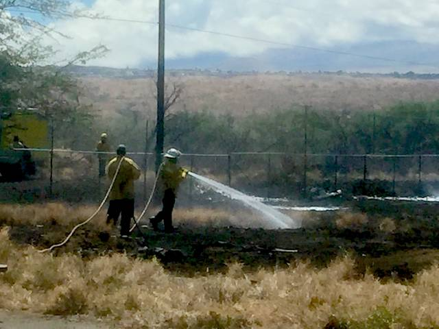 """ Firefighters work to douse a brush fire Thursday morning in Puako."" Credit: Laura Ruminski/West Hawaii Today"