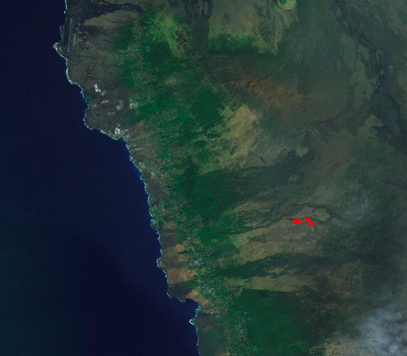 Hokukano Ranch fire as detected by NASA satellite.