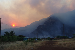 The August 2018 wildfires in Waianae Valley. Credit: Clay Trauernicht