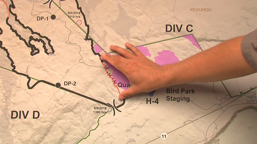 """Briefing map used to chart the brush fire fight on Mauna Loa."" Credit: Big island Video News"