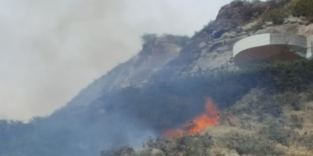 Firefighters doused a brush fire on Diamond Head. (Image: Hawaii News Now)