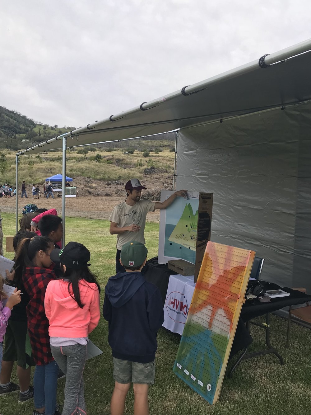 Pablo Akira Beimler leads students through an activity to learn about the mauka to makai impacts of wildfire.