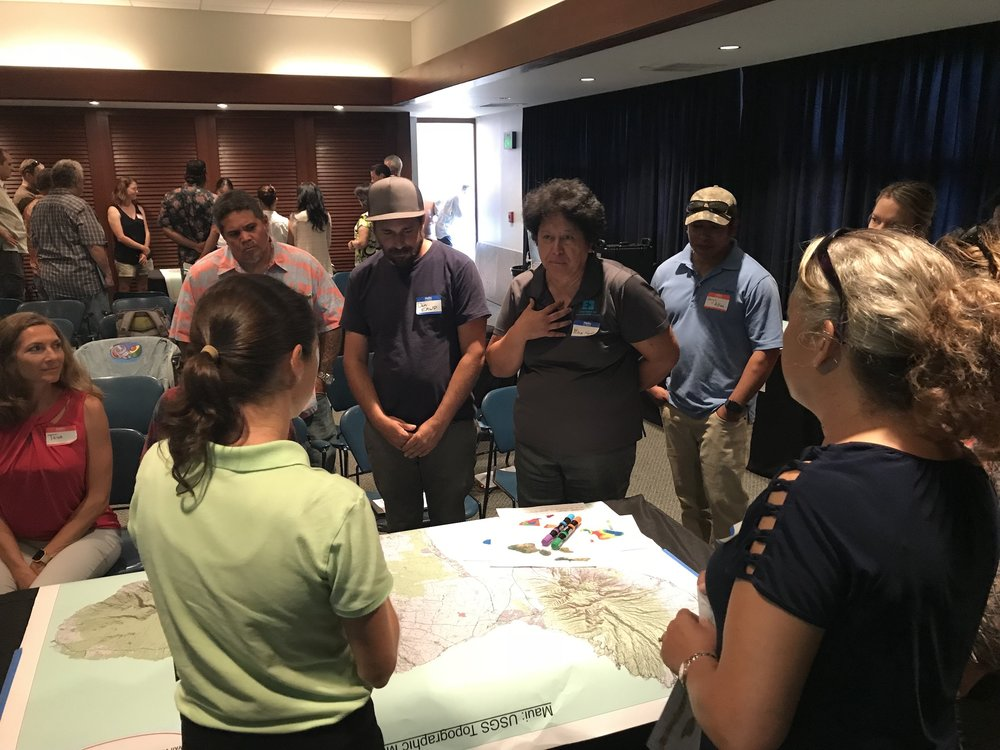 Maui Vegetative Fuels Management Collaborative Action Planning Meeting_2018_9_27_7_Mapping exercise underway.jpeg