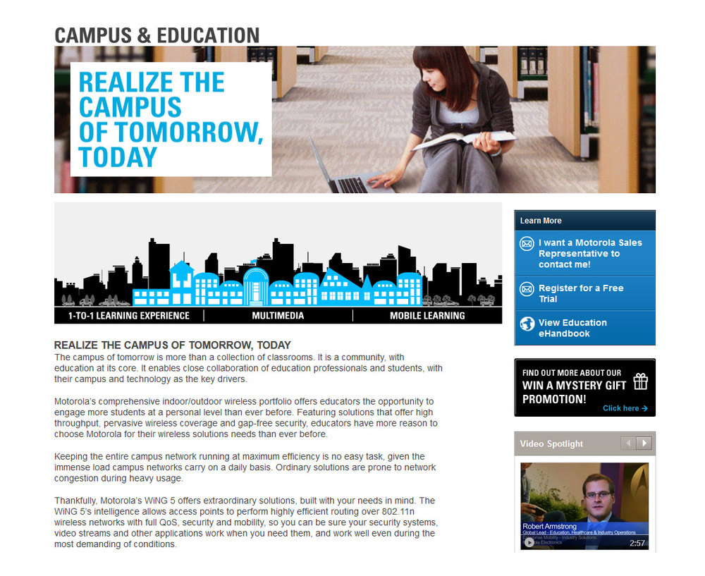 "Copywriting for the ""Campus & Education"" Motorola microsite."