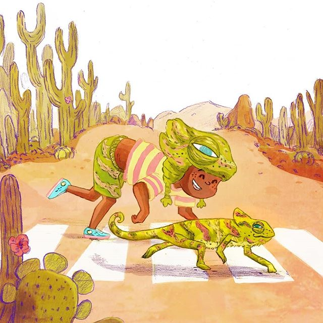 🌞🌞🌞🦎 Tim is spending a day with señor Chamil. They are going to desert town. Any of you guys ever wished they could change colour like a chameleon?🏜 . . . . . #chameleonart #lizards #deserttown  #reptilefriends #illustrationartists #togetherwecreate  #childrenswritersguild #dreamyillustration