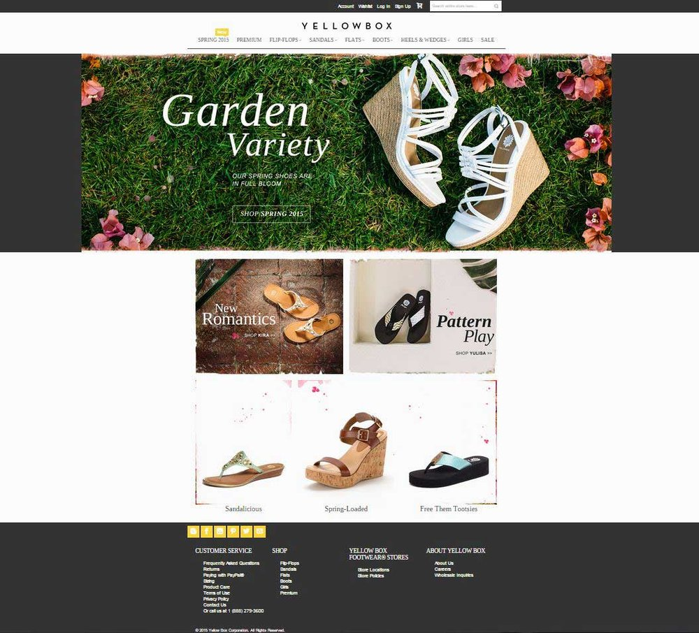 Yellow Box Shoes   E-commerce website capable of submitting orders, promote campaigns, absorb customer data and email. Designed with a customer service heavy interface and easy navigation. Managed over 700 skus. www.yellowboxshoes.com