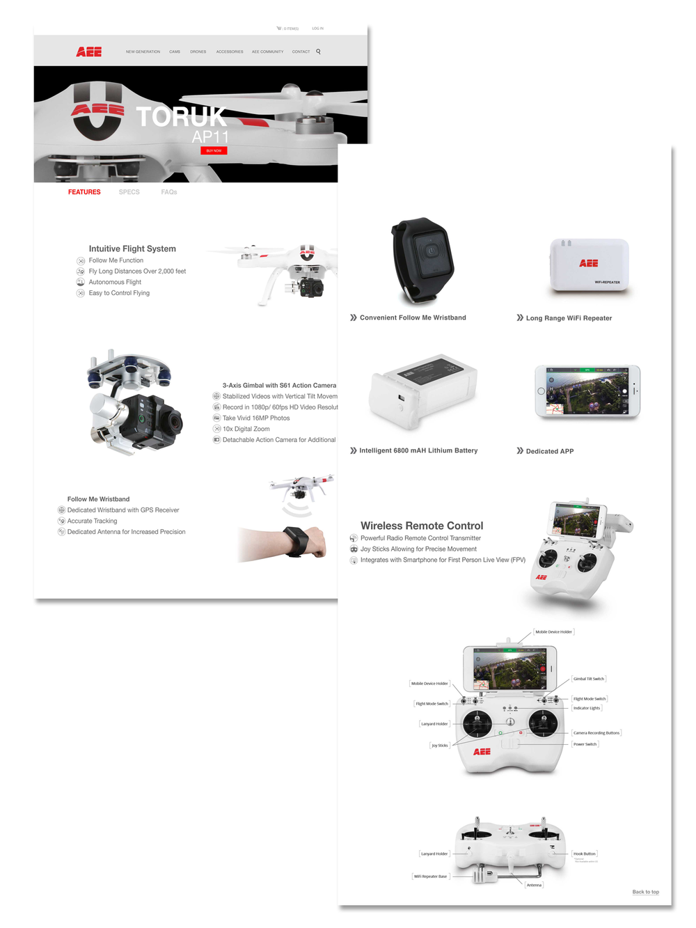 AEE Product Page   Product page for AP-11 Drone. User is able to navigate through product features, specs and FAQ's and learn more about the AP-11 Drone. You are also able to add to cart and make purchase.