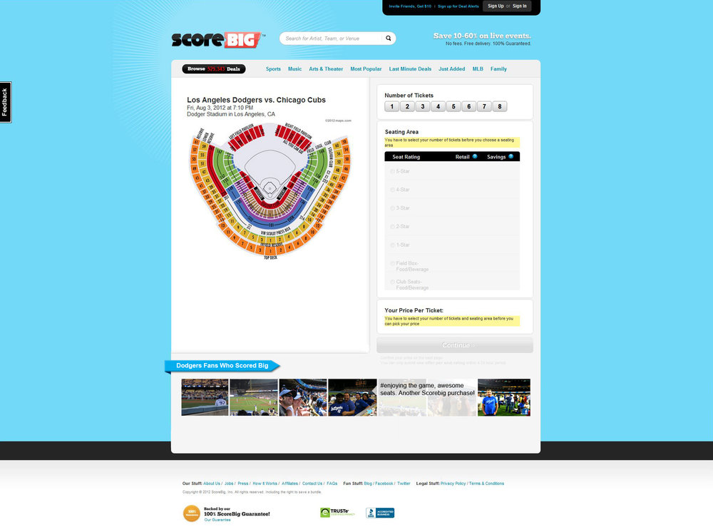 ScoreBig (Scoresmile)   Social addition to the product page. Including this feature would create a communal opportunity for fans to communicate and discuss their experience with the event and ScoreBig. Easy navigation and submitting of content through social channels.