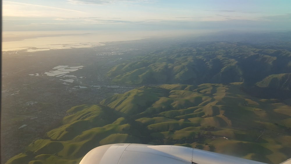 Just before landing in Oakland