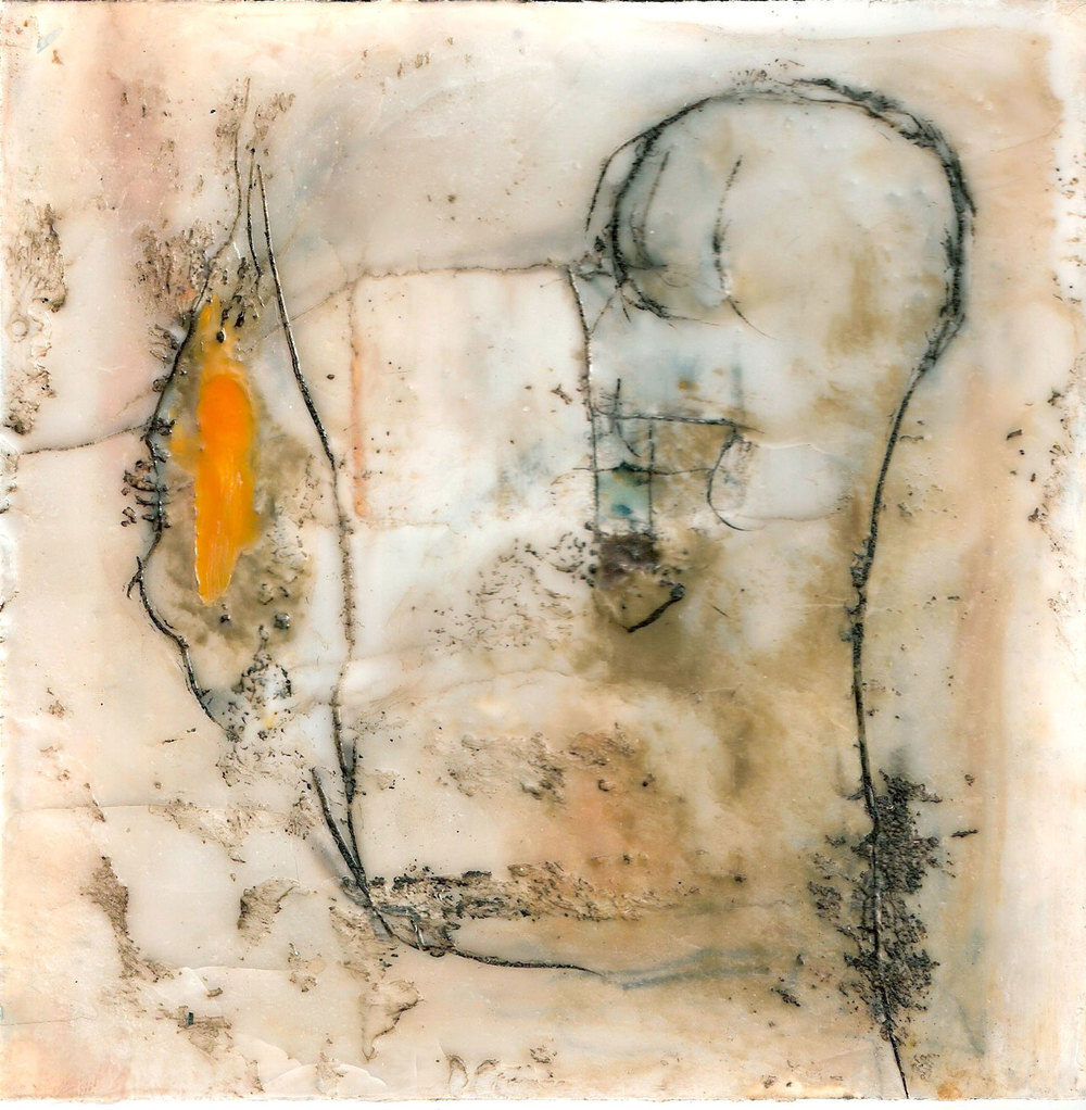 A Small Blue Space, encaustic & oil on board, 5x5, 2012