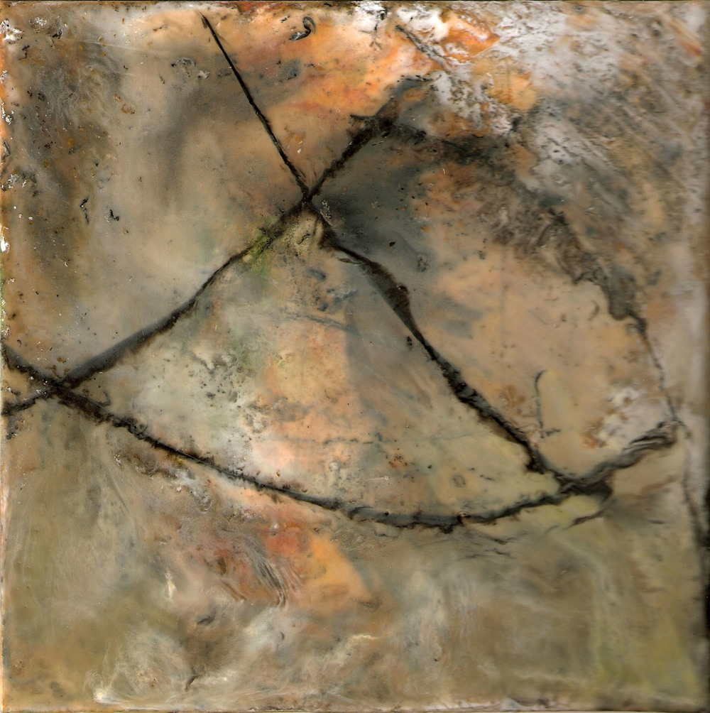 Enigma, encaustic on board, 7x7, 2012
