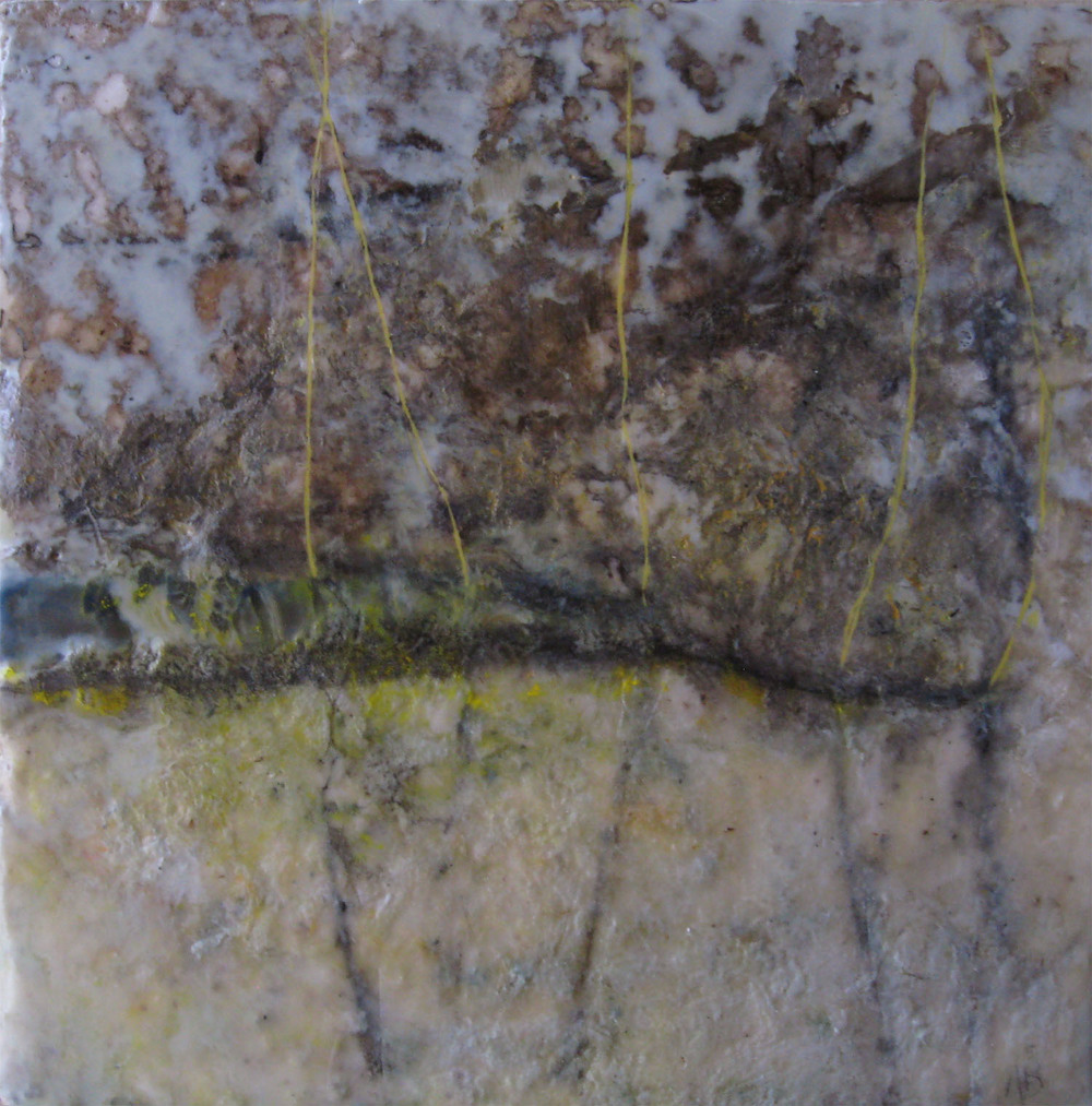 Fryeburg Clearing, encaustic, oil & cotton on panel, 12x12, 2011