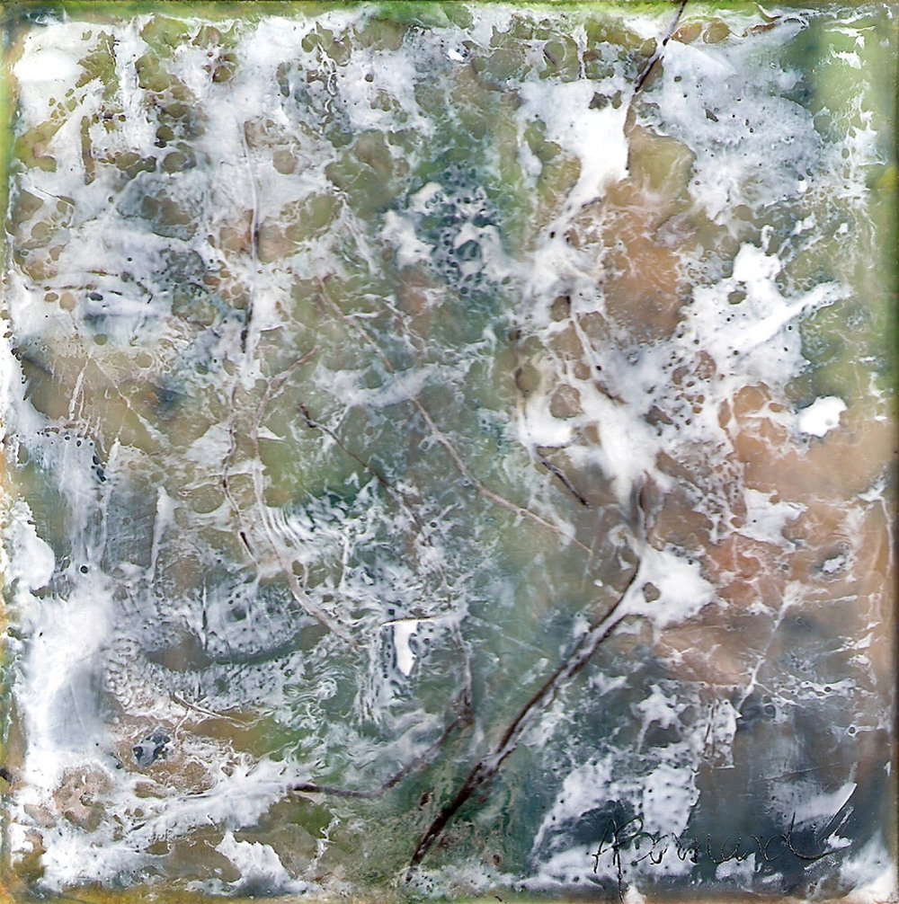 Aerial, encaustic on board, 5.5x5.5, 2010