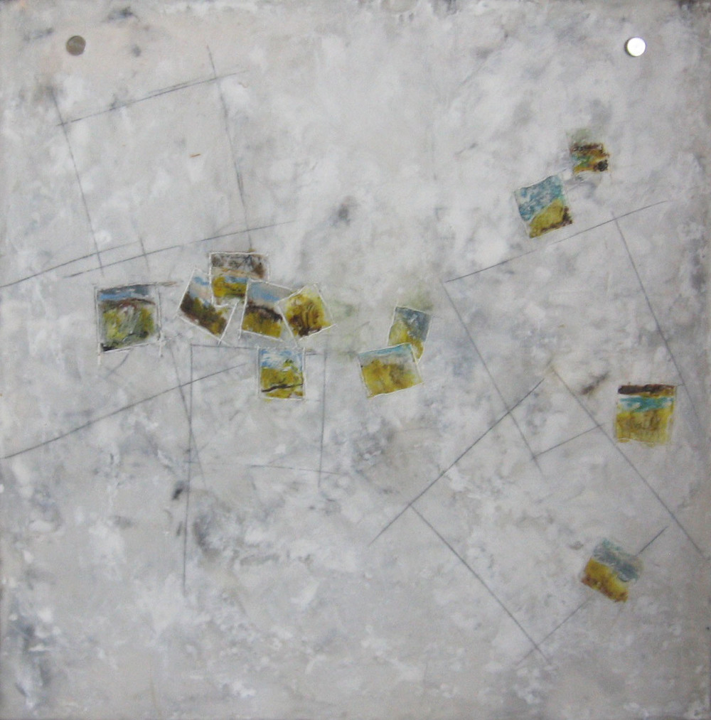 Loose Coordinates, encaustic & oil on paper, 16x16, 2010