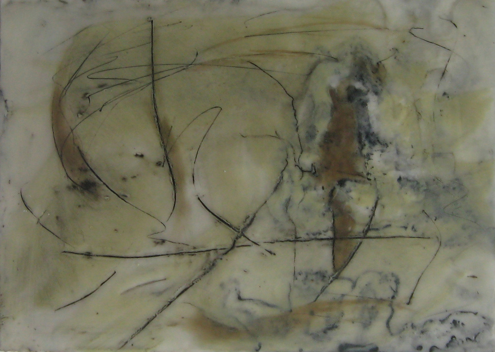 Balancing Act, encaustic & oil on paper, 6x4, 2009
