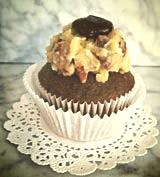 German Chocolate german chocolate cake and traditional german chocolate frosting with a german chocolate ganache star