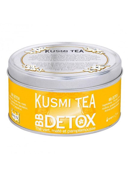 "Kusmi Tea Kusmi's BB Detox Tea (BB for ""beauty beverage"") is a blend of maté, green tea and rooibos with a subtle grapefruit flavour, specially formulated for its complexion-boosting powers. Ideal for post-party season skin that's a little worse for wear."