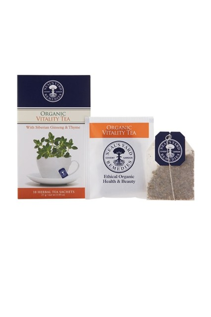 Neal's Yard Remedies Infused with schisandra to aid concentration, plus Siberian ginseng and rhodiola for an endurance boost, Vitality is the ideal brew for back-to-work days when your brain is still in sofa-and-DVD mode.