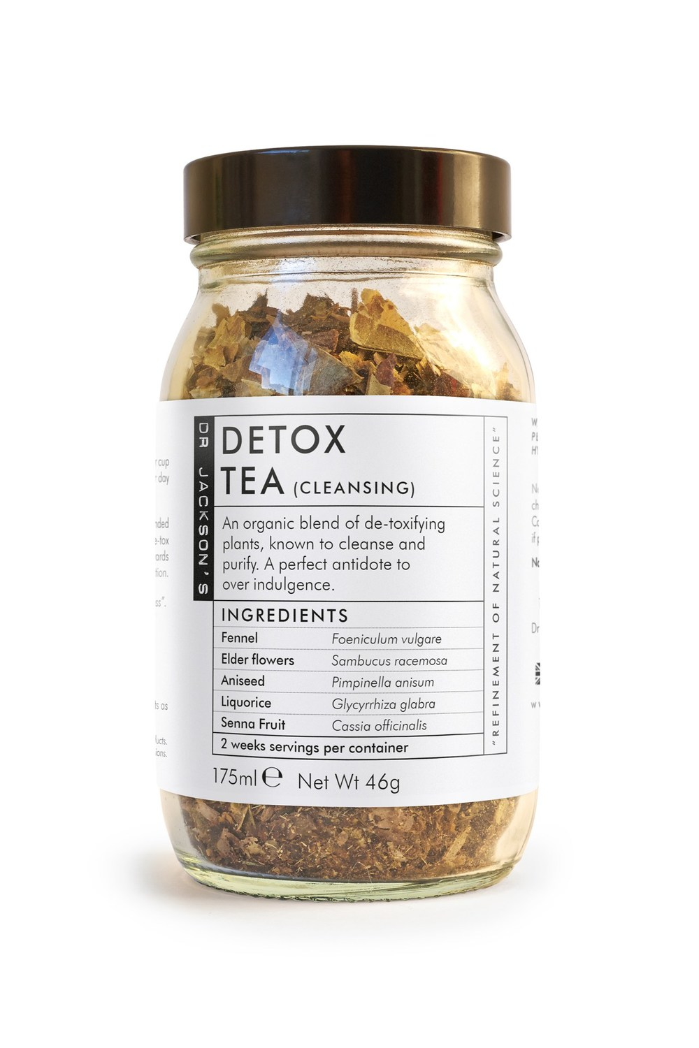 "Dr. Jackson's Described as ""the antidote to overindulgence"", a cup of this detoxifying blend twice a day for two weeks will leave you feeling totally cleansed and a whole lot more sprightly."