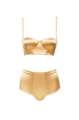 La Perla Satin Bra, £218  La Perla Satin High Waisted Brief , £183