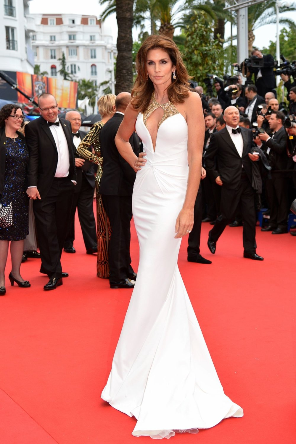 Cindy Crawford  wearing  Roberto Cavalli  at Cannes 2016
