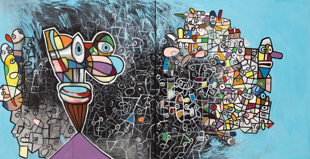 "Organic Face in an Organic World  acrylic on canvas 40 x 80"" 2017"