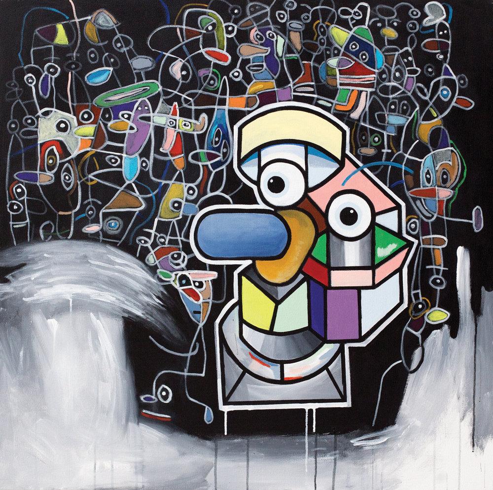 "Geometrical Profile  acrylic on canvas 40 x 40"" 2017"