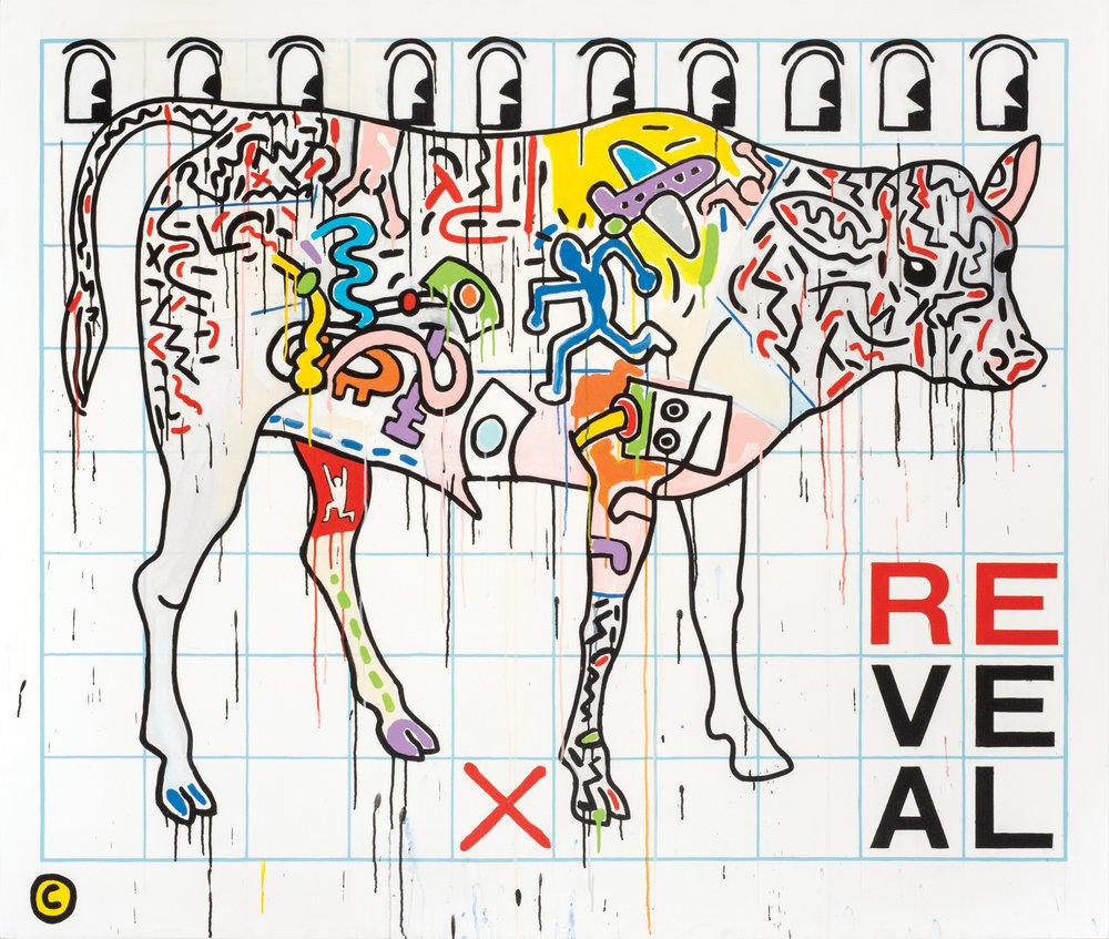 """ReVeal  acrylic on canvas 66 x 78"""" 2016"""