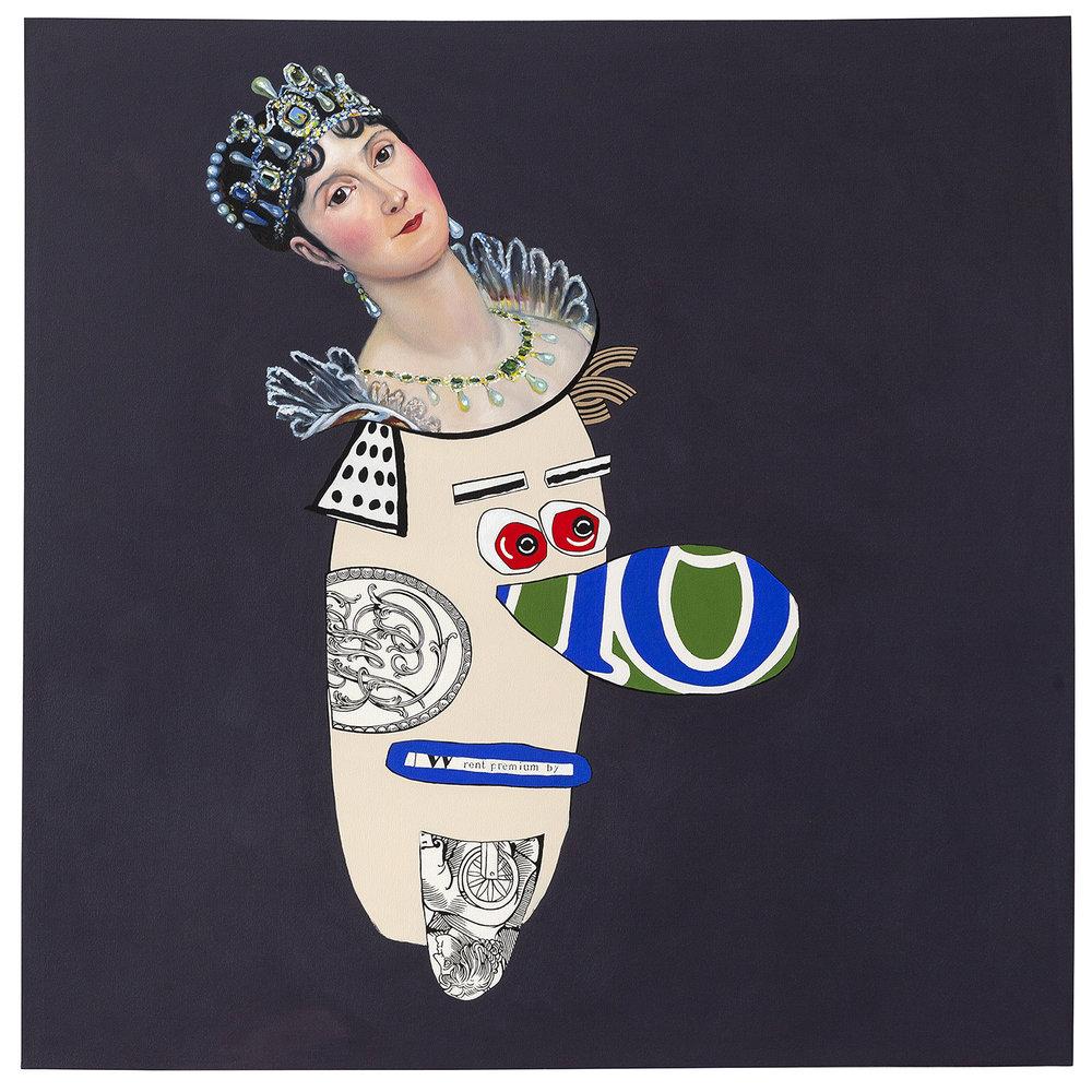 """Beady Eyes  acrylic and oil on canvas 60 x 60"""" 2014"""