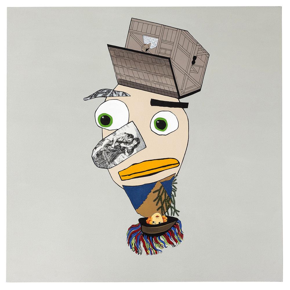 """Bearded Man  acrylic on canvas 60 x 60"""" 2014"""