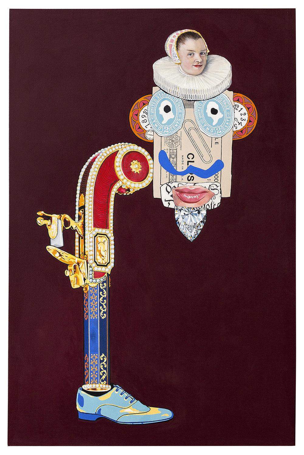 """Velvet Man  acrylic and oil on canvas 70 x 46"""" 2014"""