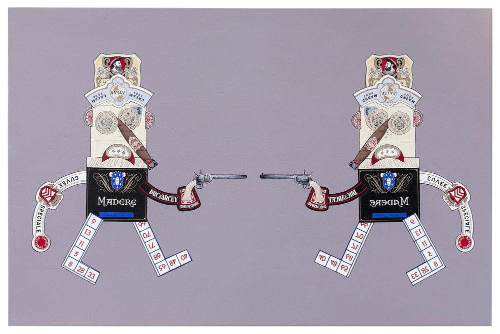 """Vices  acrylic on canvas 46 x 70"""" 2014"""