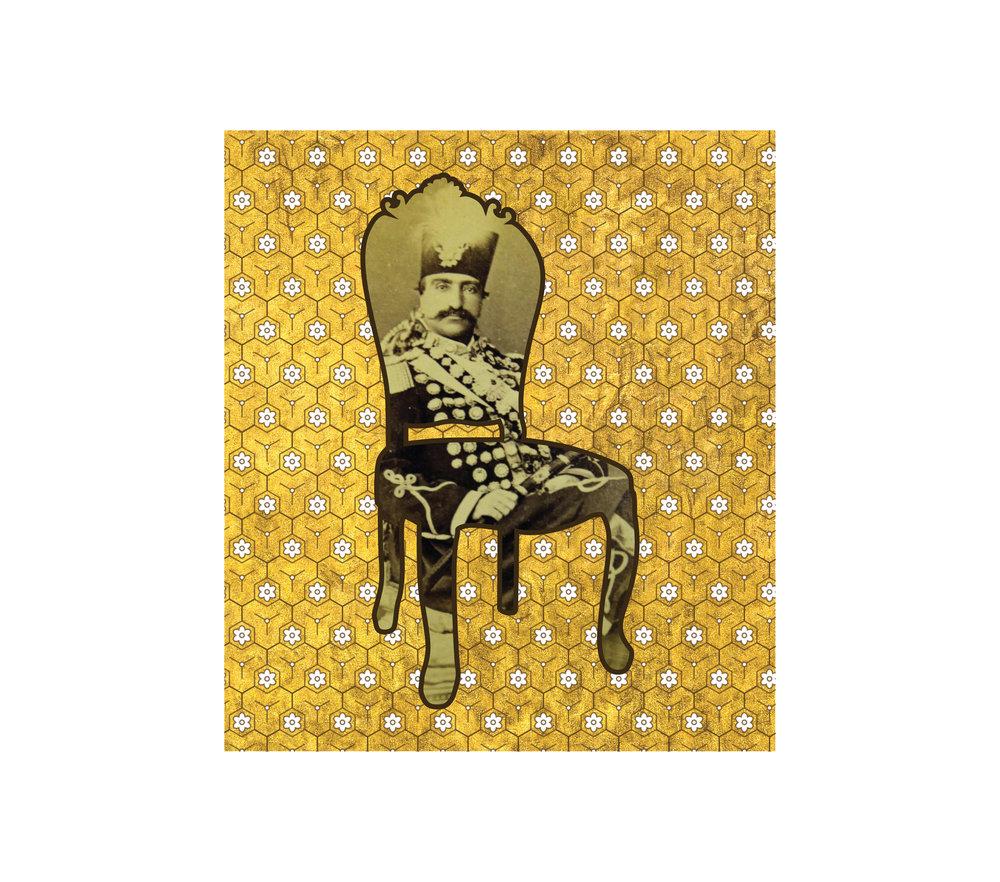 "Chair With Gold I   each archival print ed. 12  image 4 1/2 x 4"" paper 15 1/2 x 17""  2016"