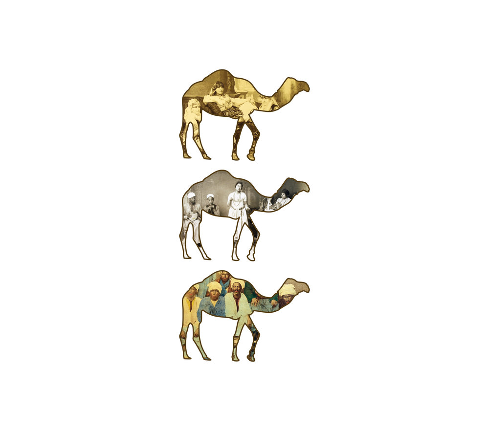 "Camels   each archival print ed. 12  image 7 x 3 1/4"" paper 15 1/2 x 17""  2016"