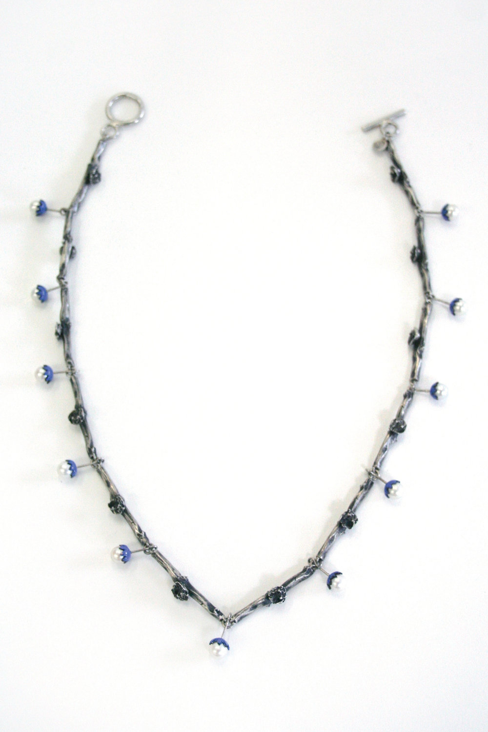 "Necklace   sterling silver, pearls, enamel   19.4""  long, .23"" wide links"