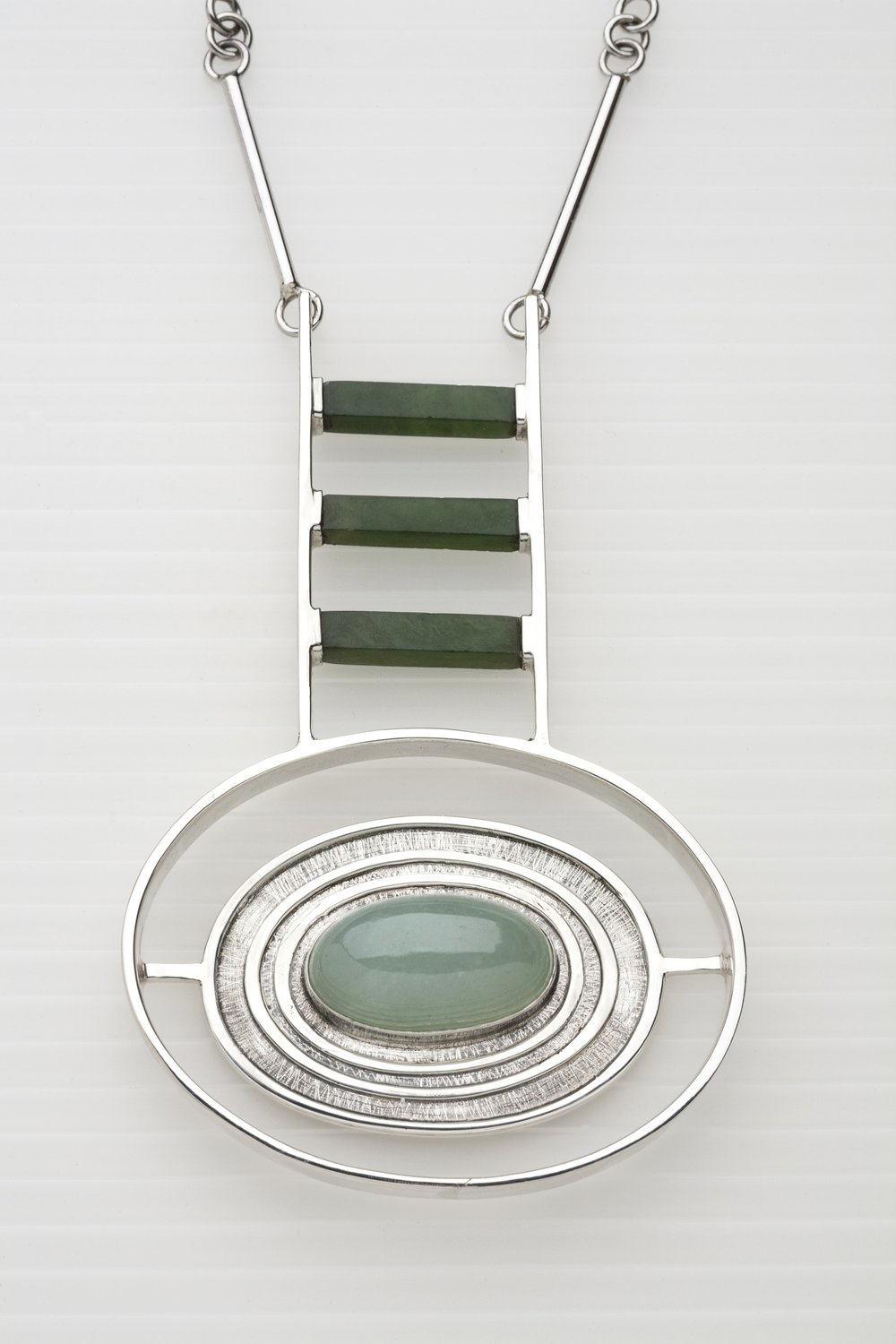 "Necklace   sterling silver, jade, spinach jade   3.64"" x 2.3"" x .46"""