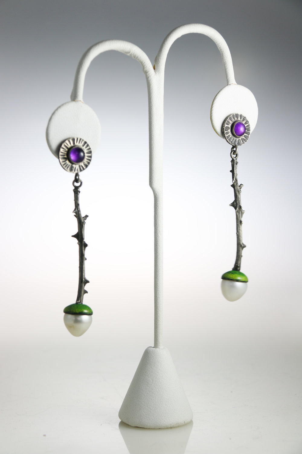 "Earrings   sterling silver, pearls, enamel, gemstones  1.75"" x .51"" x .45""  other variations available"