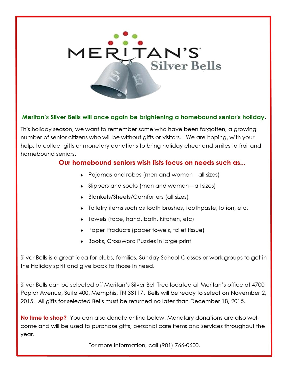 silver bells annual holiday gifts for homebound seniors meritan