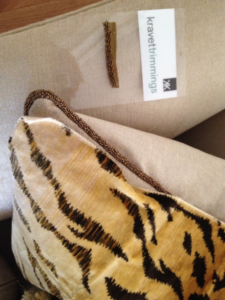 The tiger fabric sample with beaded trim, the same as the original pillow covers.