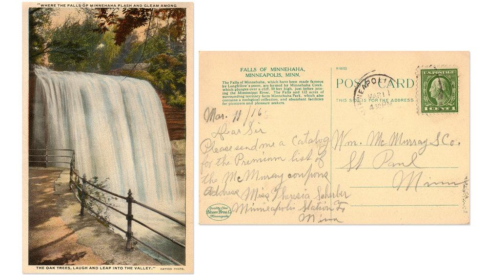 Minnehaha Falls Vintage Postcard