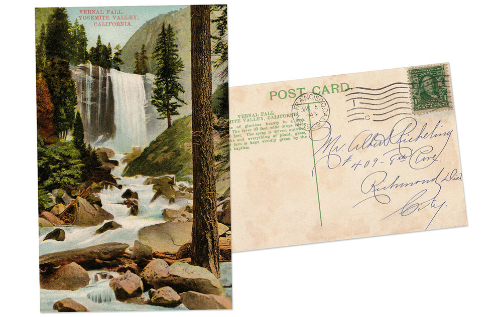 Yosemite National Park Vernal Fall Antique Postcard