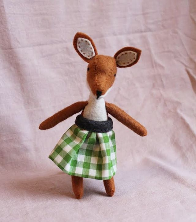 New animals are in the shop! Including Alice Fox, who is wearing a skirt made from fabric given to me by my oldest friend's grandmother from her collection.  #shoplocal #shopdc #etsykids