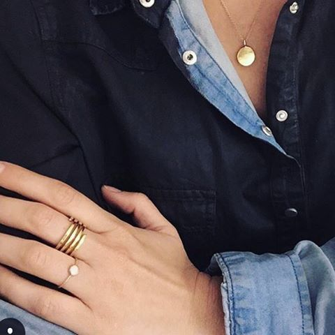 The lovely @sbarriog wearing our gold initial pendant and spiral ring 😍 #regram @caratstew #jewellery #details