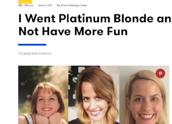 SELF.com: I Went Blonde and Did Not Have More Fun