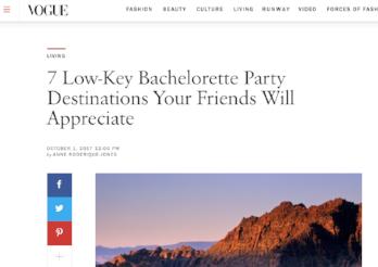 Vogue: 7 Low-Key Bachelorette Party Destinations
