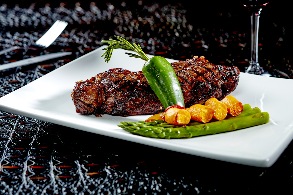Grilled Kobe Strip Steak in Hawaiian Black Salt