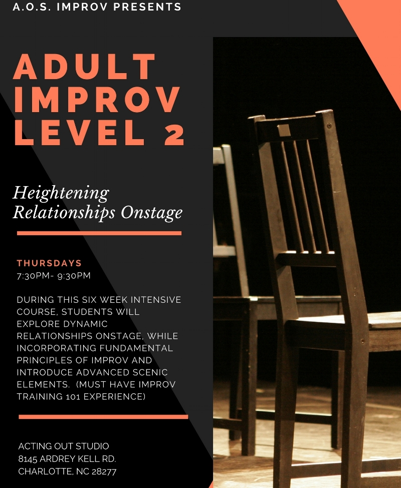 Classes for level II adult improv are $200/ 6-week session.  Mention PROMO CODE: AOSIMPROV for a $25.00 discount.